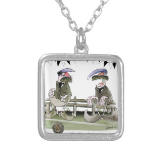 soccer football b + w team pundits silver plated necklace