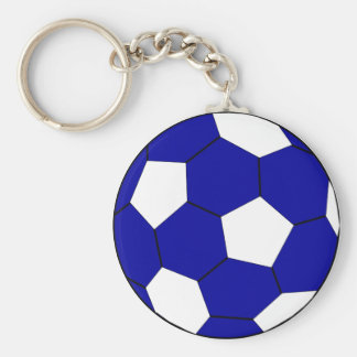 Soccer football blue and white keychain
