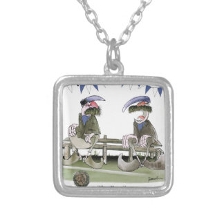 soccer football blues pundits silver plated necklace
