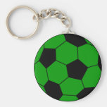 Soccer football green and black key chains