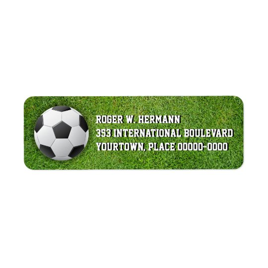 Soccer Football in the Grass Return Address Label