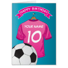 Soccer Football Pink Girls Shirt Sports Birthday Card