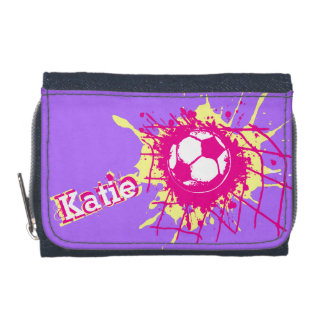 Soccer / football pink yellow purple score wallet