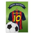 Soccer Football Red & Blue Stripe Shirt Birthday Card