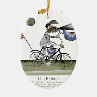 soccer football referee ceramic ornament