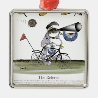 soccer football referee metal ornament