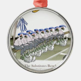 soccer football subs blue white stripes metal ornament