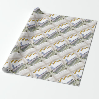 soccer football subs blue white stripes wrapping paper