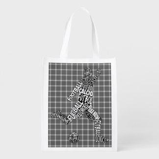 Soccer Football Typography Shopping Bag Grocery Bag