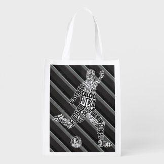 Soccer Football Typography Shopping Bag Reusable Grocery Bag