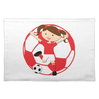 Soccer Girl 1 and Ball Red and White Placemat
