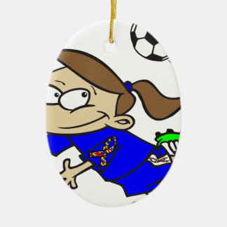 SOCCER GIRL AUTISM RIBBON CERAMIC OVAL ORNAMENT