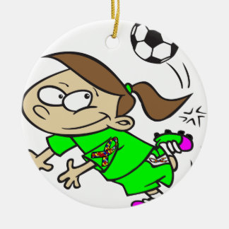 SOCCER GIRL AUTISM RIBBON ROUND CERAMIC ORNAMENT