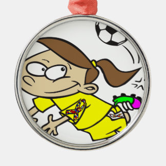 SOCCER GIRL AUTISM RIBBON Silver-Colored ROUND ORNAMENT