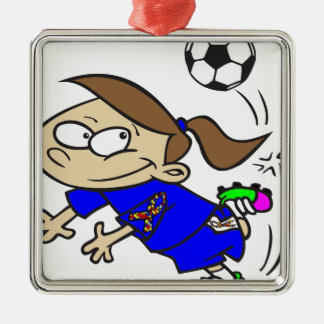 SOCCER GIRL AUTISM RIBBON Silver-Colored SQUARE ORNAMENT