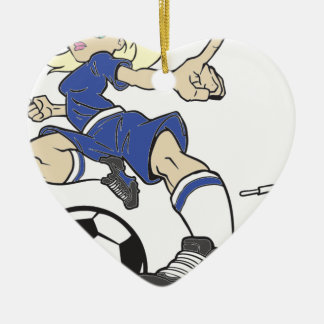 SOCCER GIRL BLONDE CERAMIC HEART ORNAMENT