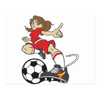 SOCCER GIRL BRUNETTE POSTCARD