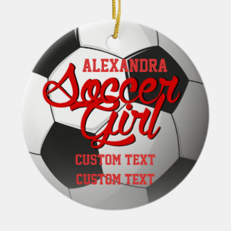 Soccer Girl Custom Round Ceramic Ornament