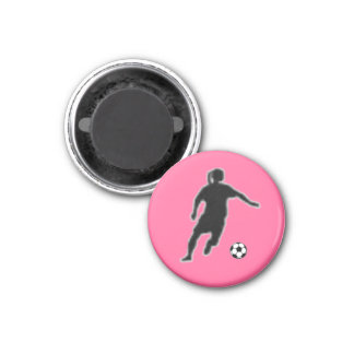 Soccer Girl TAG Player (Female) - Pink-L 1 Inch Round Magnet