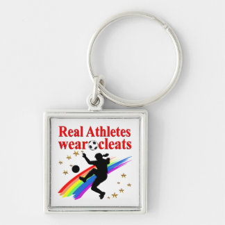 SOCCER GIRLS ARE THE BEST ATHLETES Silver-Colored SQUARE KEYCHAIN