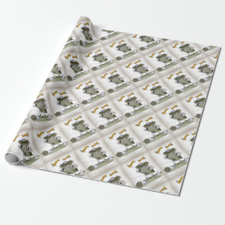 soccer goal keeper 'blue white stripes' wrapping paper
