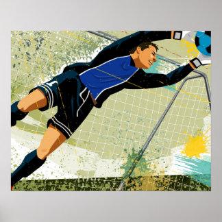 Soccer goalie blocking ball poster