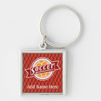 Soccer Godmother Customisable Keyring Silver-Colored Square Keychain