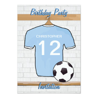 """Soccer Jersey Sky Blue and White Birthday Party 5"""" X 7"""" Invitation Card"""