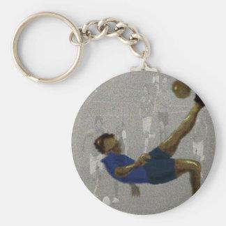 Soccer Kick Art Basic Round Button Keychain