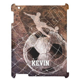 soccer mens boys player kicking ball grunge case for the iPad 2 3 4