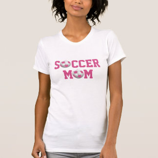 Soccer Mom v2 Soccer Ball Pink and White T-Shirt