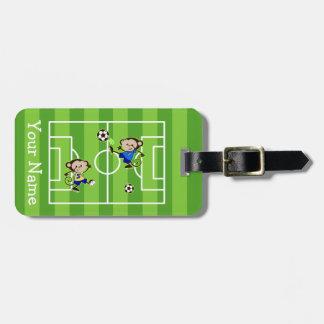 Soccer monkeys luggage tag