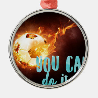 Soccer Motivational Inspirational Success Silver-Colored Round Ornament