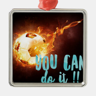 Soccer Motivational Inspirational Success Silver-Colored Square Ornament