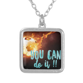 Soccer Motivational Inspirational Success Silver Plated Necklace