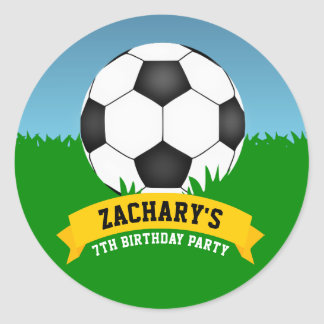 Soccer Party Classic Round Sticker