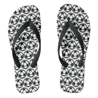 Soccer pattern flip flops