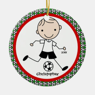 Soccer Personalized Boy Christmas Ornament