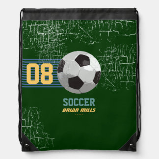 soccer personalized number & name drawstring bag