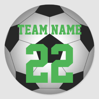 Soccer personalized team name number round sticker