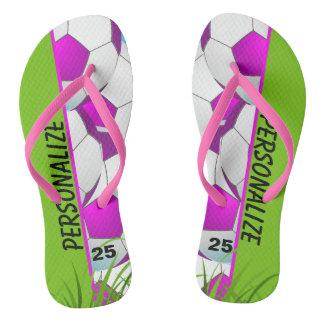 Soccer Pink Custom Flip Flops