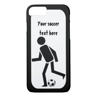 Soccer player and ball black and white iPhone 7 case