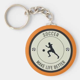 Soccer Player Basic Round Button Keychain