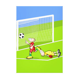 Soccer player celebrates the goal that does canvas print