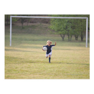 Soccer player cheering and yelling postcard