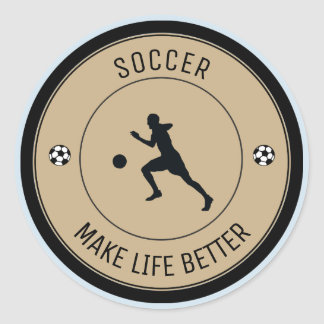 Soccer Player Classic Round Sticker