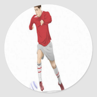 Soccer player design classic round sticker