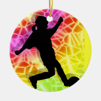 Soccer Player & Fluorescent Mosaic Ceramic Ornament