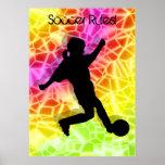 Soccer Player & Fluorescent Mosaic Print