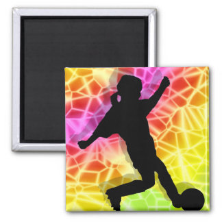 Soccer Player & Fluorescent Mosaic Square Magnet